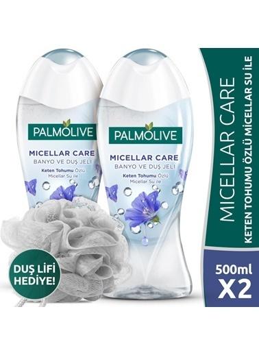 Palmolive Palmolive Micellar Care Keten Tohumu Özlü Micellar Sulu 2'li Duş Jeli 500 ml ve Duş Lifi Hediyeli Renksiz